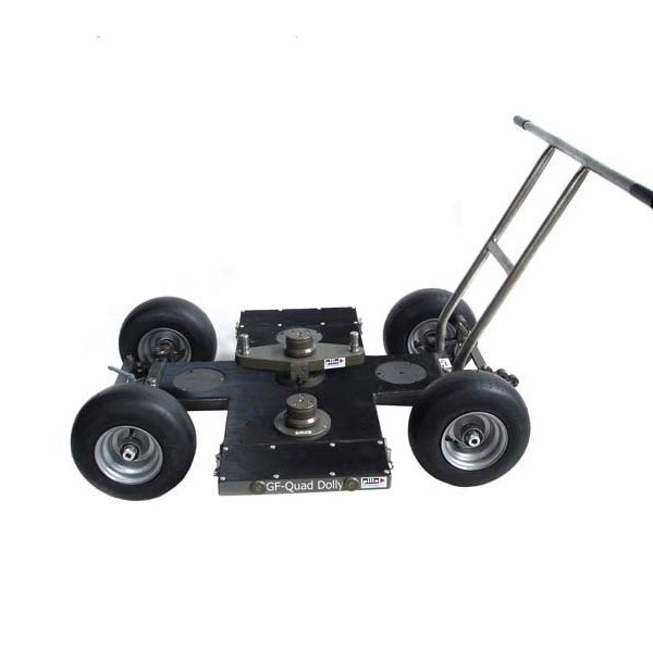 Trolley is made of aluminum with a steel finish. On the surface of the site caused the rubber layer. The trolley is installed telescopic column for mounting the camera and seat for the operator. Is driven manually.
